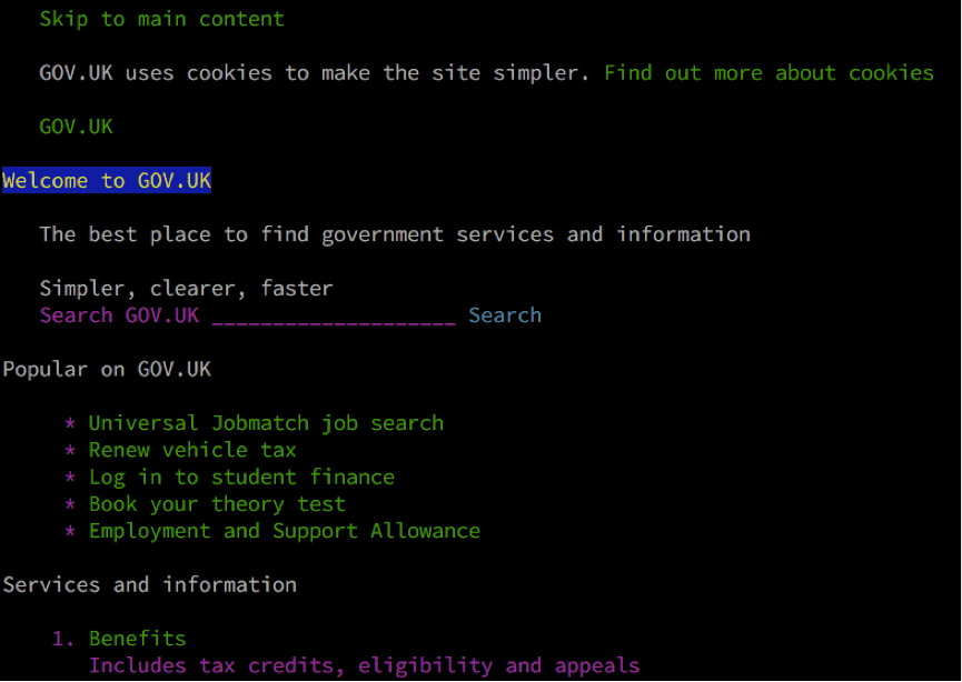 An screenshot of the web browser Lynx accessing GOV.UK.
