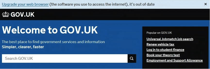 Image of a web browser accessing GOV.UK and getting an upgrade warning.